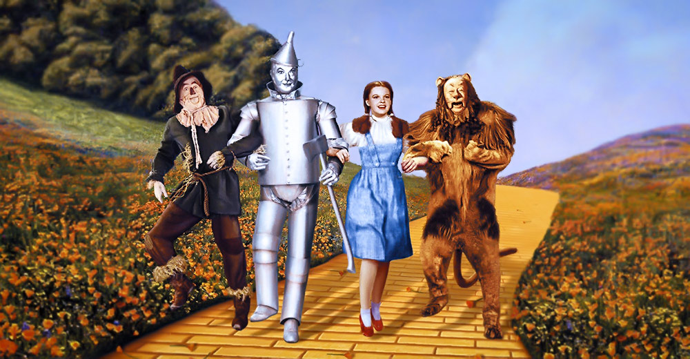 Characters from the Wizard of Oz: the Scarecrow, the Tin Man, Dorothy, and the Cowardly Lion